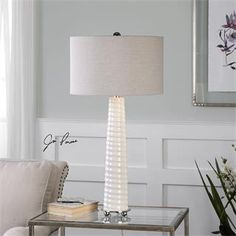 Check out the Uttermost 27135-1 Mavone Gloss White Table Lamp priced at $217.80 at Homeclick.com.