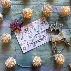 открытка-раскраска к рождеству