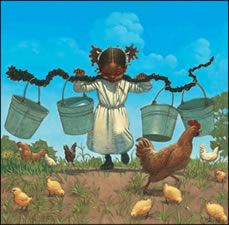 """Buckets and CHickens""-Kadir Nelson"