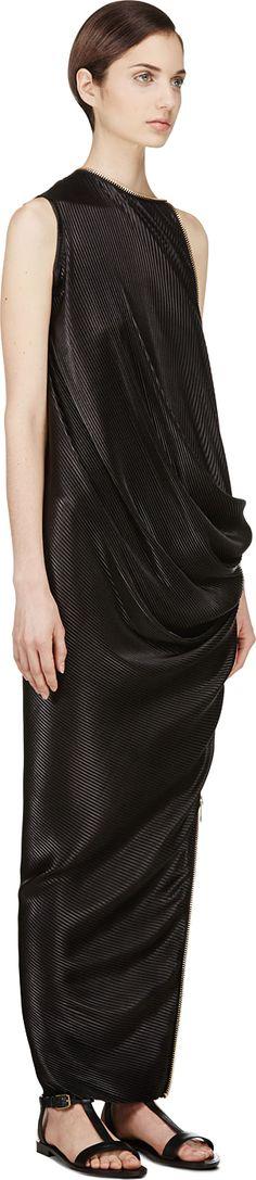 Denis Gagnon | Black Pleated Jersey Zipper Dress