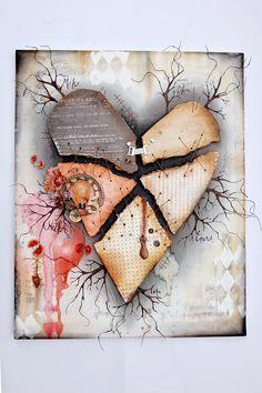 mixed media stitched canvas by Jana Korecic via Marjie Kemper's Tuesday's Tutorials Blog Series, Week 21