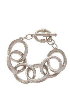 KENNETH JAY LANE HAMMERED Silver Link Bracelet PRET-A-BEAUTE.COM $68
