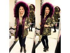 Army PARKA s fialovým kožíškem, SKLADEM - Bestmoda - Camouflage parka with purple fur in stock