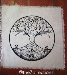 Sacred Geometry Tree of Life Goddess Crystal Grid Altar Cloth 15 x 15 Hand printed linen Mother Earth Tattoo, Mother Nature Tattoos, Gaia, Tree Of Life Symbol, Wiccan Decor, Goddess Tattoo, Sacred Geometry Tattoo, Wiccan Tattoos, Altar Cloth