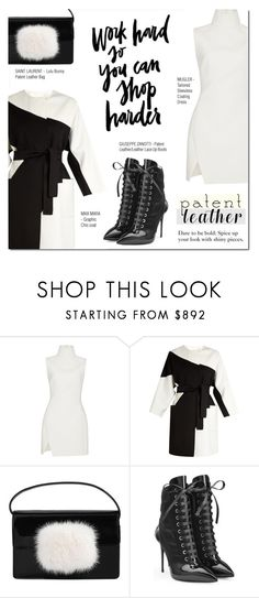 """""""CITY SLEAKER: PATENT LEATHER"""" by larissa-takahassi ❤ liked on Polyvore featuring Thierry Mugler, MaxMara, Yves Saint Laurent and Giuseppe Zanotti"""