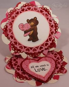 "Easel card made with rubber stamps from Art Impressions. The set of stamps is called, ""Valentine Bear"" and the sentiment is included."