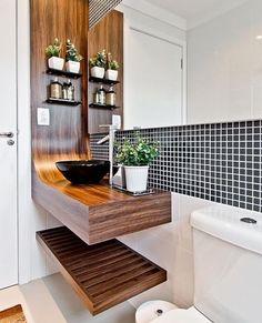 Bom dia people! E essa bancada super diferente para um lavabo? Inspiração via Blog Papo de Casada {@blogpapodecasada}.