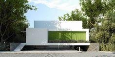 house behind green curtain - projekt: S3NS Architektura - Igor Kaźmierczak