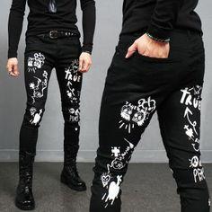 Big Men Fashion, Hipster Fashion, Black Jeans Men, White Jeans, Toddler Cc Sims 4, Estilo Tomboy, Track Pants Mens, Patched Jeans, Men's Jeans