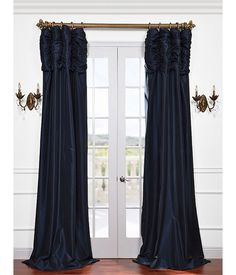Get Navy Ruched Faux Solid Taffeta Curtains & Drapes for Window Treatments