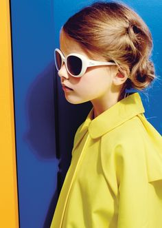 Great vivid yellow coat at Baby Dior for summer 2015 classy kidswear