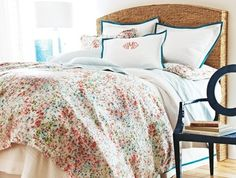 Perfect for guest bedroom! Coral Floral Bedding and Duvet Covers - Peacock Alley Eloise