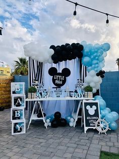 Cute boy baby shower decorations for boys with mickey mouse theme decorations from CV Linens. Click to shop our baby shower decor on a budget! Nautical mickey mouse theme dessert table and draping backdrop decorations for boy baby shower. Mickey mouse nautical boy baby shower decorations on a budget with big balloon arch garland in back white and baby blue balloons. Mickey mouse baby shower backdrop draping decorations for dessert table set up. 1st Birthday Boy Themes, Birthday Party Treats, Boy Birthday Parties, Baby Shower Decorations For Boys, Boy Baby Shower Themes, Baby Boy Shower, Big Balloons, Balloon Arch, Backdrop Decorations