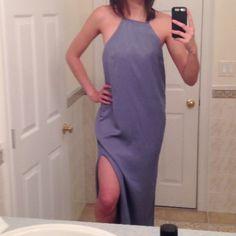 Blue Gray Double Slit High Neck Maxi Never worn!! Dresses Maxi