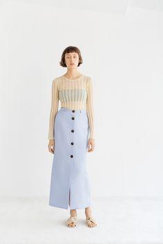 Light Blue Color, Straight Cut, Ankle Length, Midi Skirt, High Waisted Skirt, Menswear, Spring Summer, Lady, Skirts