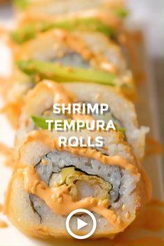 Cooked Sushi Recipes, Sushi Roll Recipes, Shrimp Recipes Easy, Cooking Recipes, Easy Shrimp Tempura Recipe, Cooked Sushi Rolls, Easy Sushi Rolls, Cooking Sushi, Sushi Food