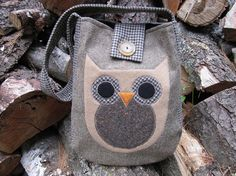 Owl totebag recycled wool by granniesraggedybags on Etsy, $27.00