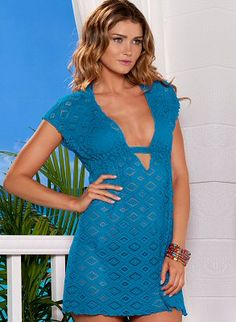 Aqua crochet tunic with plunging neckline and adjustable drawstring tie at back by BECCA by Rebecca Virtue Swimwear, $68.00
