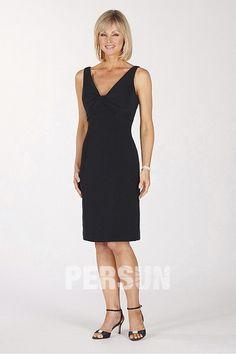 Schlichtes Schwarz V Ausschnitt Etui Linie Knielang Abendkleider aus Chiffon Persunshop