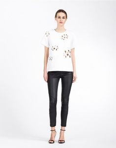 Cynthia Rowley - Bonded Embroidered Applique Tee | Tops