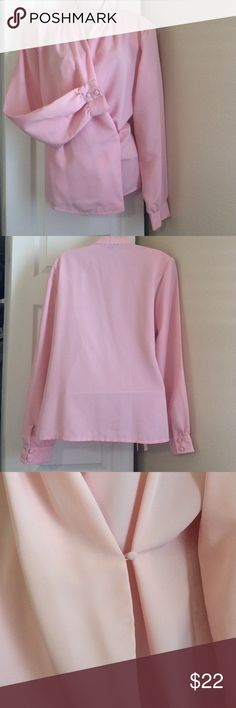 LIGHT PINK BLOUSE Beautiful with clean lines for a professional outfit. Crossover front. Has a tie underneath to keep it together and buttons with a fabric-covered button on wearer's left side.  Button cuffs, long sleeves. Drape collar. Re-posh because I liked it and hoped it would fit but it's a bit too large.  😕 Savannah Tops