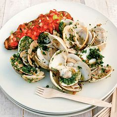 Ginger-and-Herb Pan-grilled Clams with Tomato Bruschetta - Our Ultimate Grilling Recipes - Coastal Living