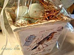 Botanic Bleu: French Soap Bird's Nest...tutorial for making soap holder from peat pot
