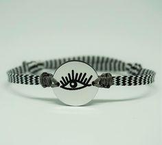 black and white chevron evil eye bracelet, silver mirror plexiglas with engraved eye, adjustable, unisex