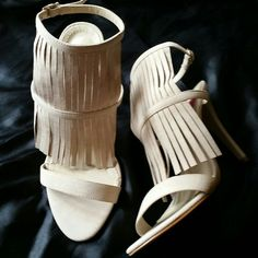 NEW- GORGEOUS fringe high heels size 7 Never worn- Brand New super stylish!  Size 7 (also fits 7.5) TRADE VALUE $90 Made in Brazil, suede Shoes Heels