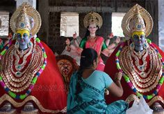 Color statues are ready for the Durga Puja in Karad area of Maharasthra.
