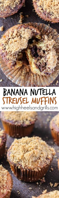 Banana Nutella Streusel Muffins - These are the most moist muffins I have ever had! Plus, Nutella. Yum. http://www.highheelsandgrills.com/banana-nutella-streusel-muffins/