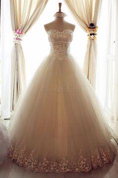 Amazing A-Line Sweetheart Floor Length Lace & Beadings Wedding Dress 10522297 - Wedding Dresses 2014 - Dresswe.Com