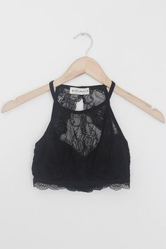 85eb11c4d00 Hollister Removable-Pads Lace High-Neck Bralette ( 20) ❤ liked on ...