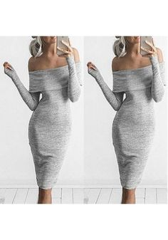 Grey Plain Boat Neck Fashion Cotton Midi Dress