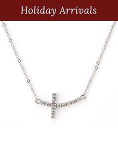 "The beautiful Floating Cross Necklace- Genuine Cubic Zirconia. 17"" to 20"" adjustable. www.bevivi.com/lynnwheeler"