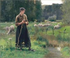 Peasant Girl with Sheep - Julien Dupré