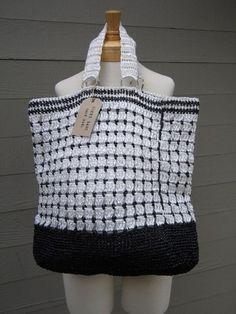 Handmade reusable grocery bag, hand crocheted bag, raffia bag, large tote, black and white FREE US SHIPPING $40.00