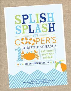 Little Man Invitation  Pool Party Boy Birthday Invite Mustache