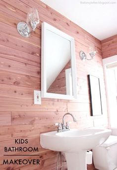 That's My Letter: bathroom makeover with cedar planked walls