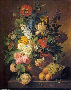 """Flower Still-Life (2)"", Oil On Canvas by Jan Frans Van Dael (1764-1840, Belgium)."