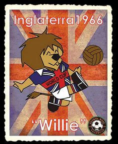 En la octava edición de la Copa Mundial de Fútbol, celebrada en Inglaterra en el año de 1966, apareció la primera de las mascotas mundialistas: Willie, un león que patea un balón, viste una camiseta con la bandera del Reino Unido estampada y donde está escrito en inglés: World Cup. World Cup Logo, Manchester United Football, Logo Nasa, Football Players, Fifa, Comic Books, History, Poster, Tattoo