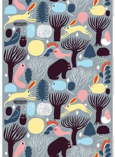 Huhuli fabric from Marimekko has a pattern of animals in the forest in nice colorways. This playful fabric looks just as good in the children's room as the living room. Combine with other fine interior details from marimekko. Textile Patterns, Textile Design, Fabric Design, Print Patterns, Textiles, Design Art, Marimekko Fabric, Stoff Design, Stuffed Animal Patterns