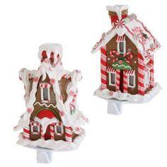 Raz Imports S/2 LED Lighted Gingerbread House Stocking Holder Xmas Decor Candy