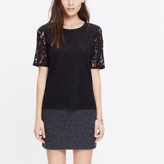 Madewell Black Lace Refined Tee (NWT) Never before worn - still has tags! Details: Black - Lace - Front Lining - Peek-a-Boo Back - Size XXS - Dry Clean Madewell Tops Tees - Short Sleeve