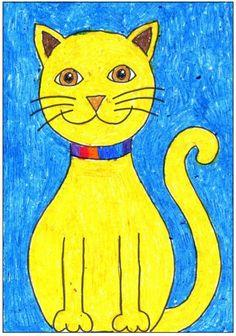 Art projects for kids: draw a sitting cat уроки рисования де Cat Drawing, Drawing For Kids, Art For Kids, Basic Drawing, Kids Fun, Club D'art, Art Club, School Art Projects, Projects For Kids