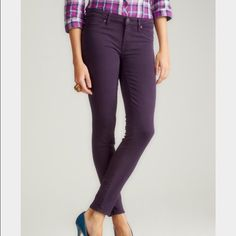 Rich & Skinny jeans Skinny ankle jeans in dark purple (eggplant) from Rich & Skinny. I believe these are the 'Marilyn' style. Stretch denim, super comfy and flattering. Gently worn; in great shape. 28 inch inseam. Rich & Skinny Jeans Skinny