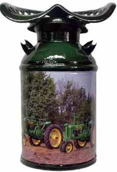 decorated milk can with tractor seat