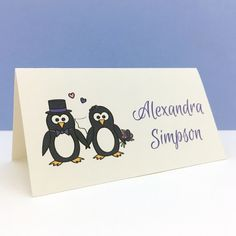Penguin wedding place card with Bride and Groom penguins - which can be two Brides or two Grooms. Wedding Place Names, Wedding Places, Wedding Day, Penguin Wedding, Pressed Leaves, Two Brides, Cute Penguins, Wedding Stationery, Wedding Colors