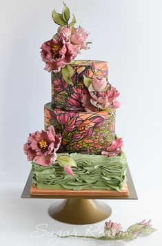 Sugar Realm, Sugar Ruffles and Stained Glass Wedding Cake.