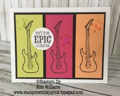 Stampin Up Epic Celebration Stamp set. Sale a Bration Occasions Catalog Kim Williams, Stampin with Kjoyink. Birthday card idea for men or birthday card for boys. Guitars and sneakers are so coo Birthday Cards For Boys, Teen Birthday, Card Birthday, Birthday Celebration, Boy Cards, Kids Cards, Men's Cards, Scrapbooking, Scrapbook Cards